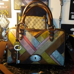 FOSSIL colorful patchwork leather Boston bag